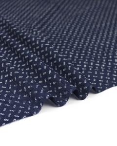 Fine Cotton Jacquard Fabric - Navy Sprig