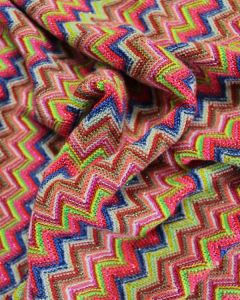 Ex Designer - Chevron Jersey Fabric - Bright Multi