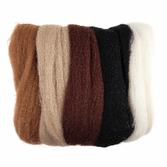 Natural Wool Roving - 50g Pack - Browns