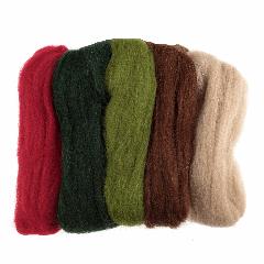 Natural Wool Roving - 50g Pack - Christmas