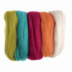 Natural Wool Roving - 50g Pack - Brights