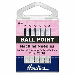 Hemline Sewing Machine Needles - Ball Point Fine 70/10