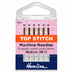 Hemline Sewing Machine Needles - Top Stitch 80/12