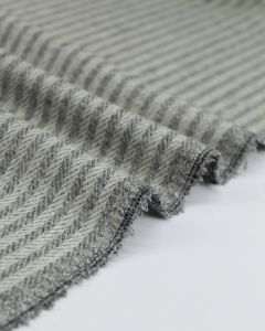 Herringbone Stripe Wool Fabric - Cloud