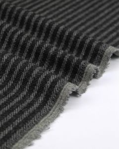 Herringbone Stripe Wool Fabric - Coal