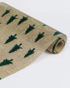 Hessian Roll - Foil Trees Green