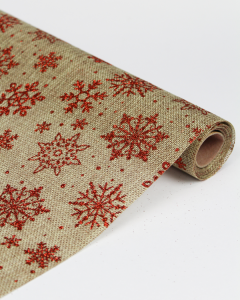 Hessian Roll - Glitter Snowflake Red