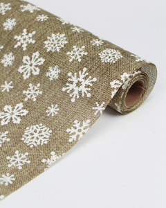 Hessian Roll - White Snowflake
