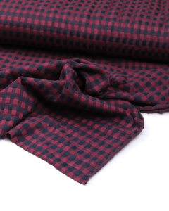 Jacquard Double Knit Fabric - Mulberry Gingham