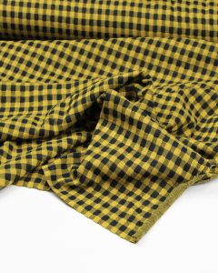 Jacquard Double Knit Fabric - Ochre Gingham
