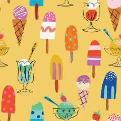 Patchwork Cotton Fabric - Lazy Days - Ice Cream Time
