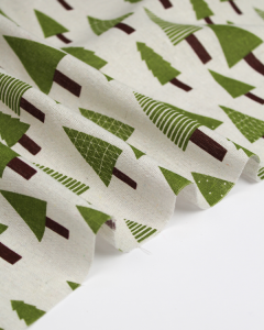 Linen & Cotton Blend Fabric - Christmas Trees