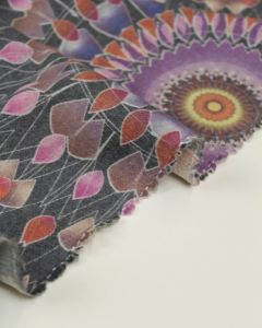 Brushed Wool Challis Fabric - Mandala Print