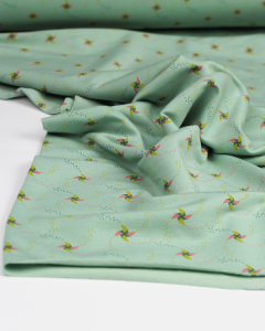 Modal French Terry Fabric - Penny Pinwheel Mint