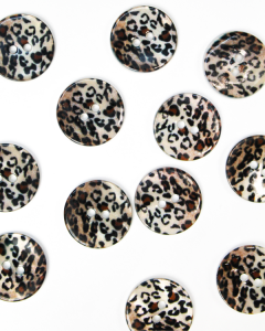 Mother of Pearl Button - Leopard Print - 20mm