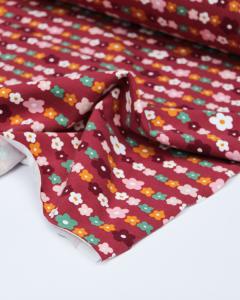 Organic Cotton Jersey Fabric - Daisy Chain Berry