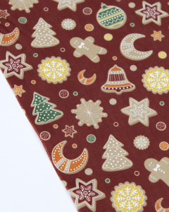 Organic Cotton Fabric - Christmas Cookies