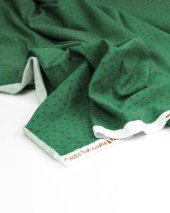 Organic Cotton Sweatshirt Fleece Fabric - Dashi Dot Mint Chocolate