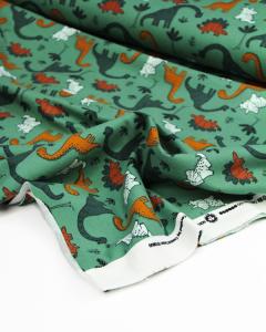 Organic Cotton Sweatshirt Fleece Fabric - Dino-Mighty Jungle