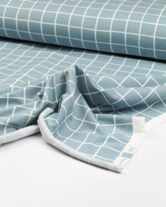 Organic Cotton Sweatshirt Fleece Fabric - Grid Check Sky