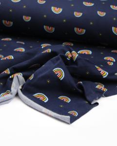 Organic Cotton Sweatshirt Fleece - Midnight Rainbow