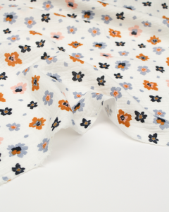 Organic Double Gauze Fabric - Alba Flower Ivory