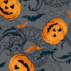 Patchwork Cotton Fabric - Midnight Haunt - Pumpkin Scroll Slate