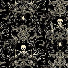 Patchwork Cotton Fabric - Midnight Haunt - Skelly Bones Black