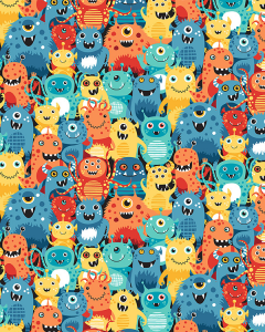 Patchwork Cotton Fabric - Space - Aliens