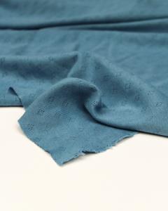 Pointelle Cotton Jersey Fabric - Delph Blue