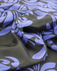 Silk Pongee Fabric - Blue Baroque