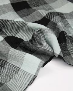 Pure Linen Check Fabric - Sea Glass
