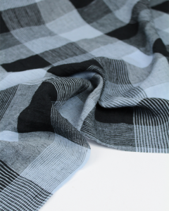 Pure Linen Check Fabric - Solent