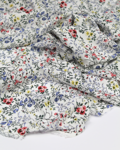 Rayon Challis Lawn Fabric - Daphne Blanc