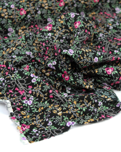 Rayon Challis Lawn Fabric - Daphne Noir