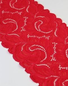 Stretch Lace Trim - 160mm - Ruby