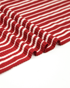Ribbed Jersey Fabric - Track Stripe Red