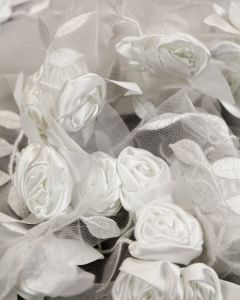 Embellished Tulle Fabric - Satin Roses White