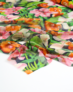 Silk Chiffon Fabric - Lily Garden