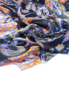 Silk Chiffon Fabric - Pandora Paisley