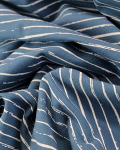 Cotton Jersey Fabric - Sketch Stripe Marine Blue