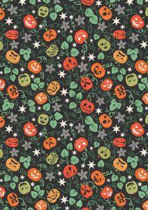 Patchwork Cotton Fabric - Castle Spooky - Spooky Pumpkins