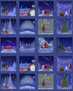 Patchwork Christmas Fabric - Snowy Scenes Tiles