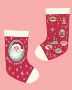Christmas Cotton Fabric - North Pole Stocking Red