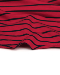 Stripe Cotton French Terry Fabric - Navy on Red