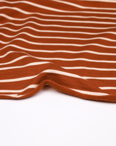 Stripe Cotton French Terry Fabric - Powder Pink on Ginger