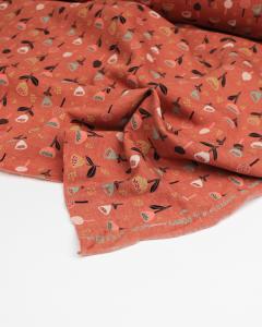 Sweatshirt Fleece Fabric - Glitter Garden Papaya