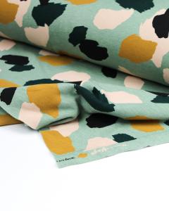 Sweatshirt Fleece Fabric - Paintsplash Sage