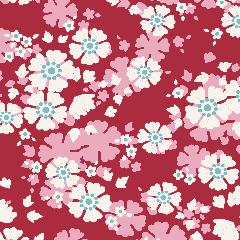 Tilda Patchwork Cotton Fabric - Woodland - Aster Carmine