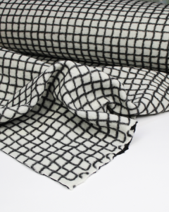 Two-Faced Grid Check Knit Fabric - Black & White